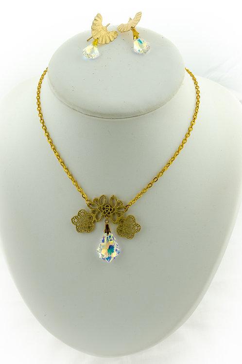 Ensemble baroque doré et pendentif en Cristal de Swarovski