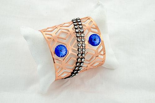 Bracelet en cuivre et Cristal en Swarovski bleu et trass