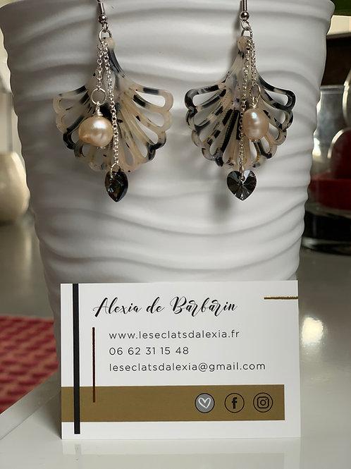 Boucles d'oreilles femme avec perle et Cristal