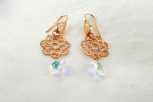 Boucles en cuivre et pendentif en Cristal de Swarovski