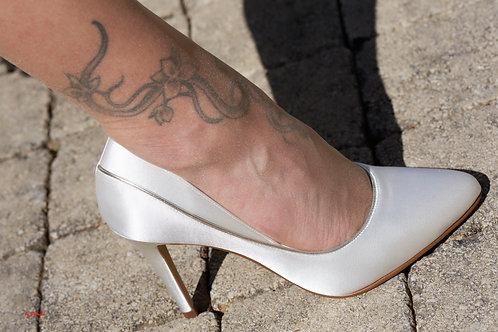 Chaussures Femmes Noires ou Ivoire en satin et biais argenté ou doré