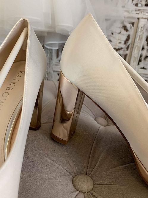Chaussures femmes pour Mariées, en satin de soie et talon gold