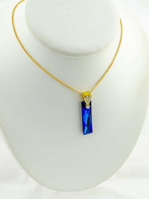 Collier Rectangle reflets bleu en Cristal de Swarovski