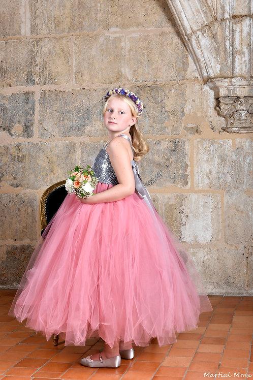 Robe princesse tulle, rose en satin et perles tissus sequins