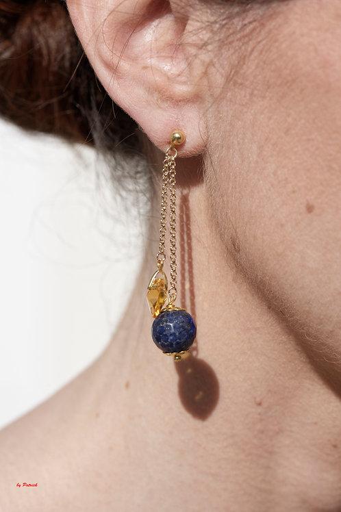 Boucles Noémie avec perles en Lapis Lazuli et Cristal de Swarovski