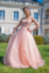 Robe de cocktail rose poudré