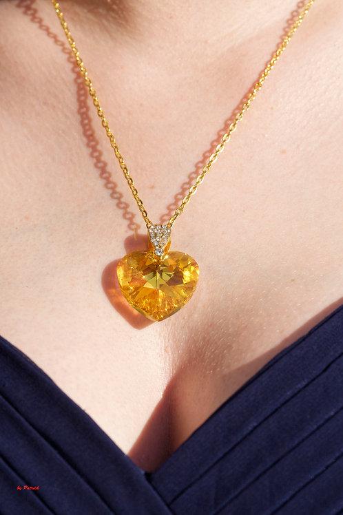 Collier Rayon de soleil coeur en Cristal de Swarovski