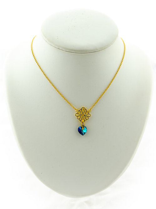 Collier Marie Antoinette  doré avec pendentif en Cristal
