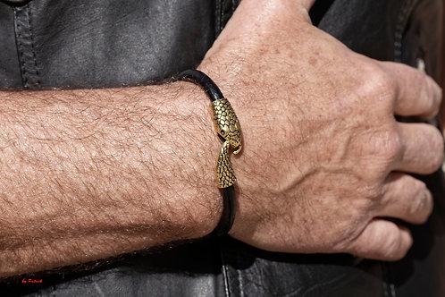 Bracelet Kaa cuir avec fermoir tête de serpent