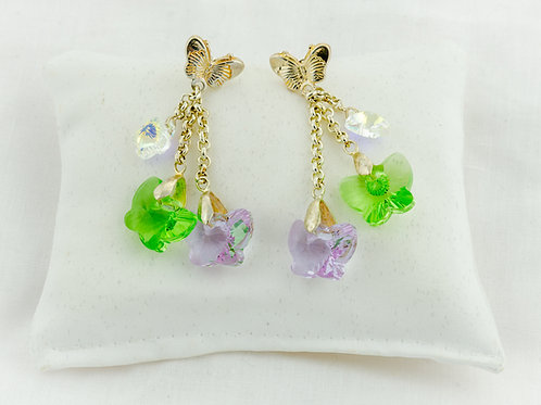 Boucles d'oreilles Paradis avec de jolis papillons en Cristal de Swarovski