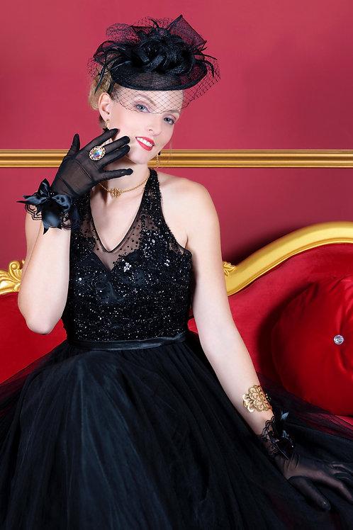 Gants Diva noirs en satin