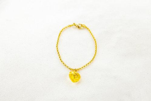 Bracelet Julie chaîne dorée et pedentif coeur jaune en Cristal