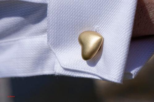 Boutons de Manchette Glamour en Métal forme de coeur amovible