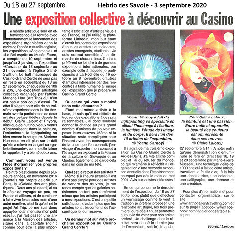Article ART TRIP - Hebdo des Savoie 3 se