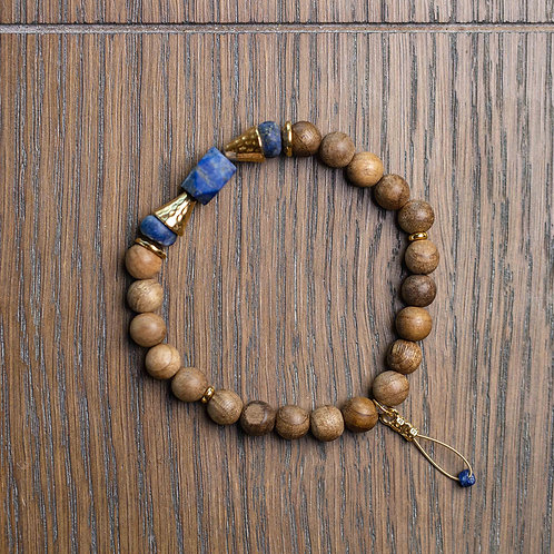 Lapis Lazuli + Sandalwood Stretch Bracelet