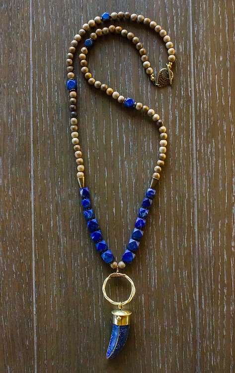 Lapis + Sandalwood Pendant Necklace