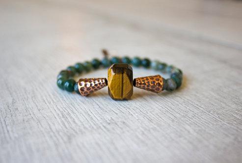 Tiger's Eye + Moss Agate Stretch Bracelet