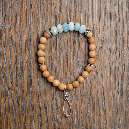 Amazonite + Sandalwood Stretch Bracelet