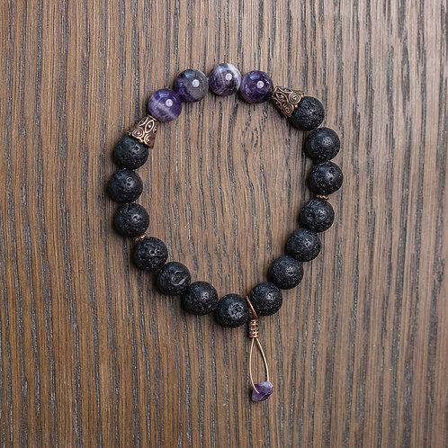 Lava + Amethyst Stretch Bracelet