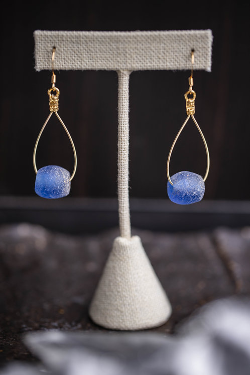 Cobalt Recycled Glass Teardrops