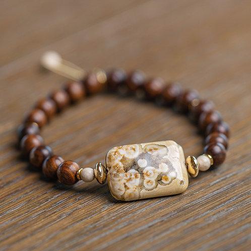 Ocean Jasper + Banyan Wood Stretch Bracelet