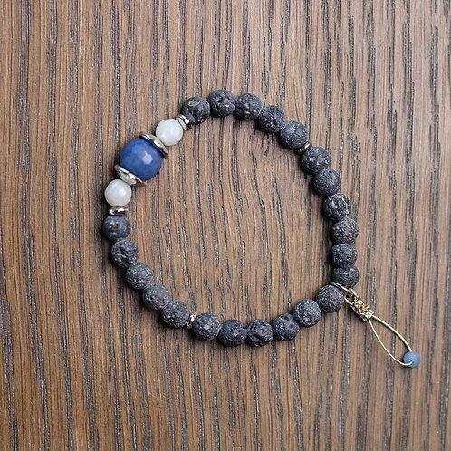 Lava + Blue Agate Stretch Bracelet