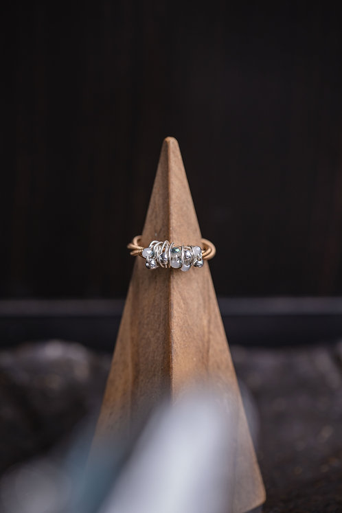 Silver & Glass Cluster Ring