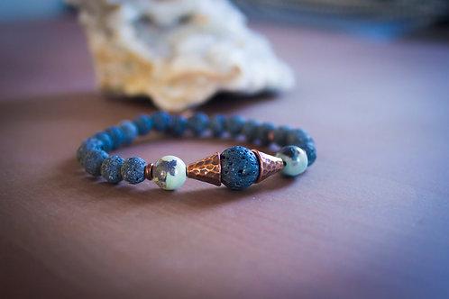 Lava + Aqua Terra Agate Stretch Bracelet