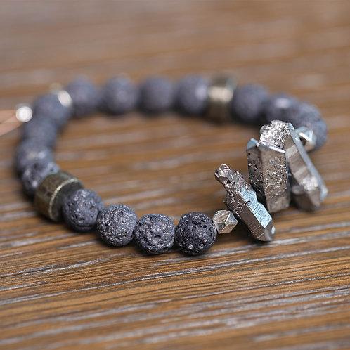 Lava + Quartz Crystal Stretch Bracelet