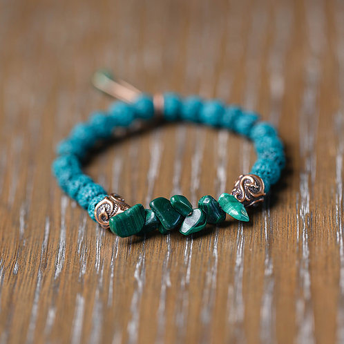 Teal Lava + Malachite Stretch Bracelet