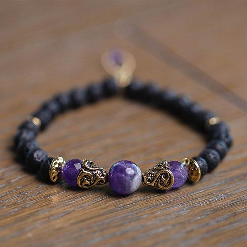Lava + Fancy Amethyst Stretch Bracelet