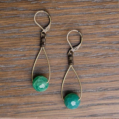 Bright Green Agate Teardrops