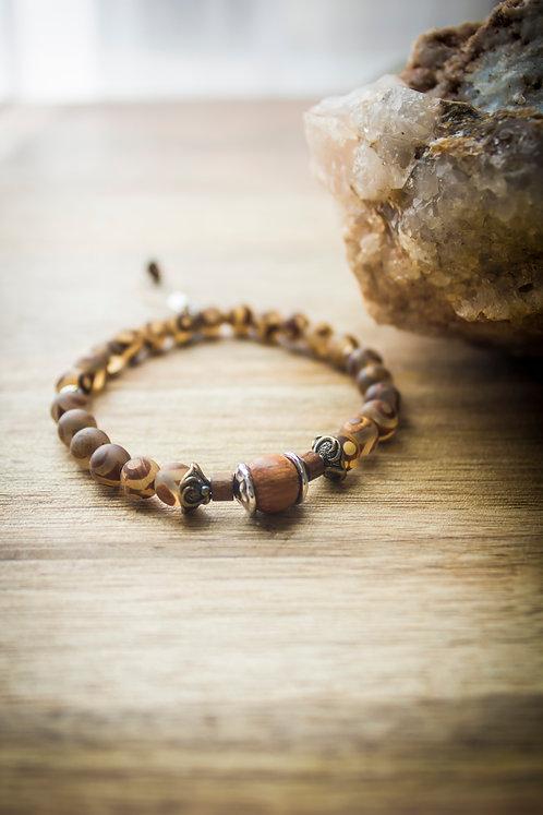 Tibetan Dzi + Wood Stretch Bracelet