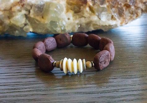Brown Lava + Bone Stretch Bracelet