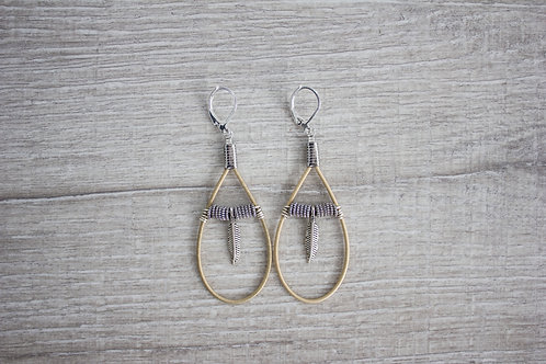 Silver Feather Teardrops