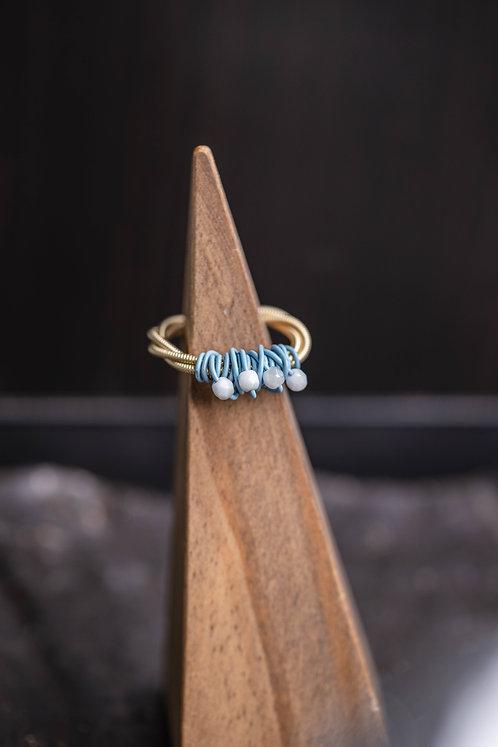 Powder Blue Czech Glass Ring