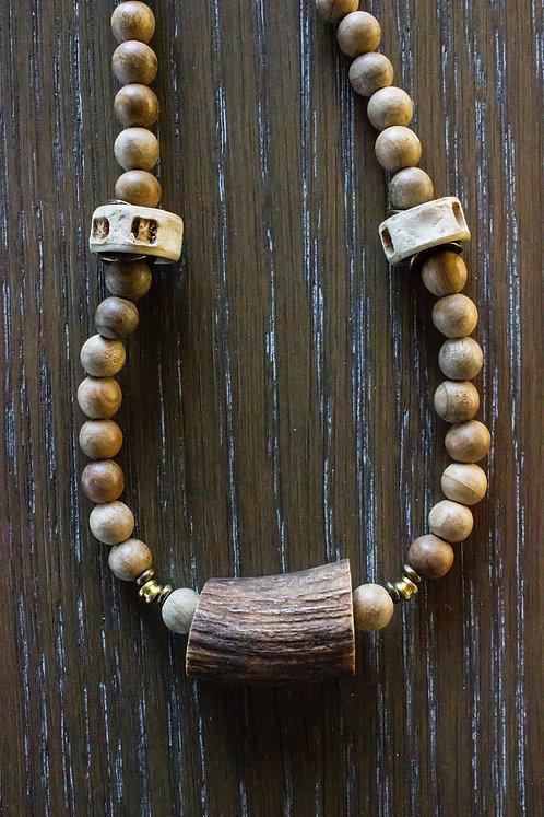 Deer Antler + Sandalwood Necklace