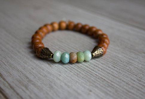 Amazonite + Banyan Wood Stretch Bracelet