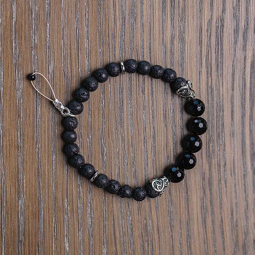 Lava + Faceted Onyx Stretch Bracelet