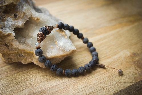 Lava + Labradorite Stretch Bracelet