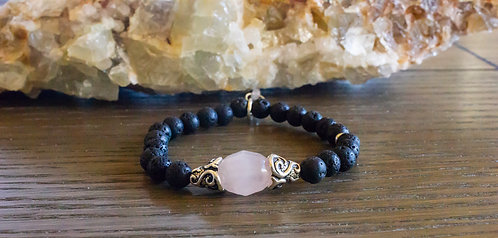 Lava + Rose Quartz Stretch Bracelet