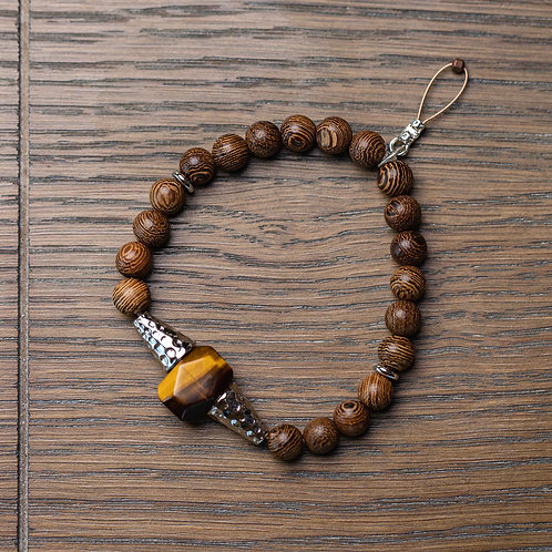 Tigers Eye + Wood Stretch Bracelet