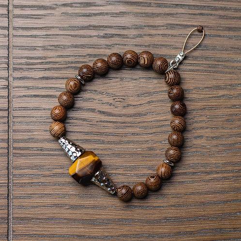 Tigers Eye + Wood Stretch Bracelet