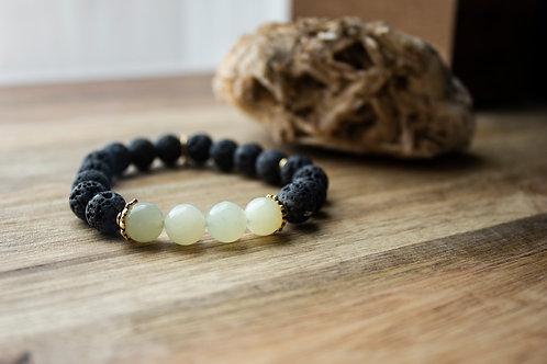Lava + Green Amazonite Stretch Bracelet