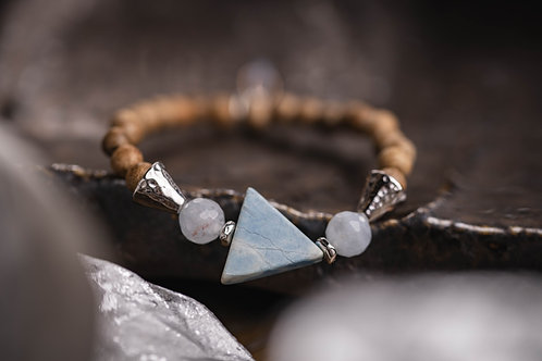 Larimar & Sandalwood Stretch Bracelet
