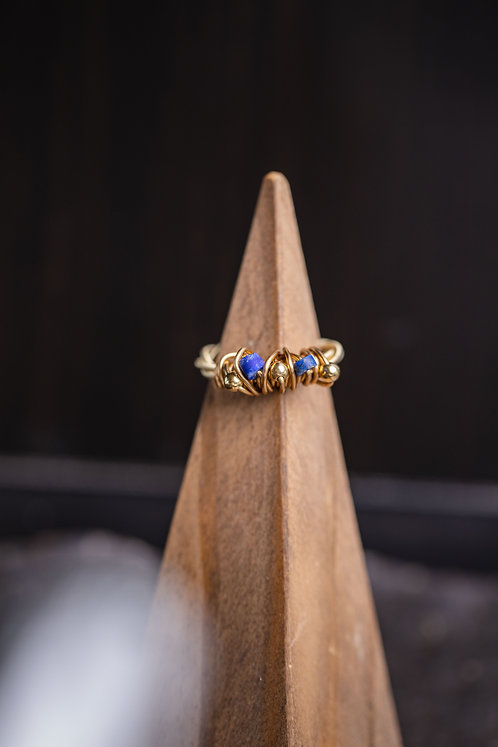 Lapis & Gold Cluster Ring