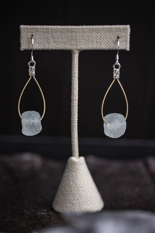 Icy Recycled Glass Teardrops