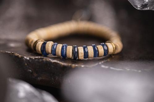 Kyanite & White Wood Stretch Bracelet