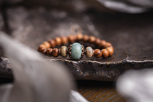 Arctic Agate & Banyan Wood Stretch Bracelet