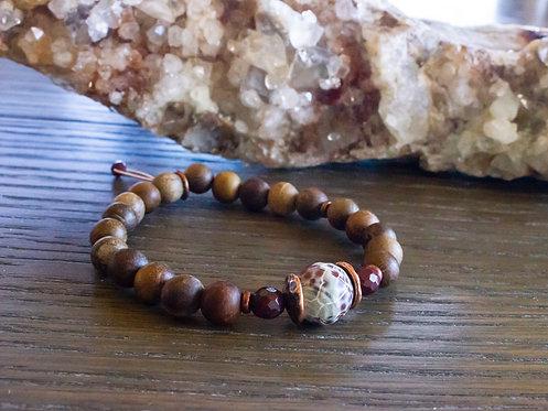 Agate + Sandalwood Stretch Bracelet